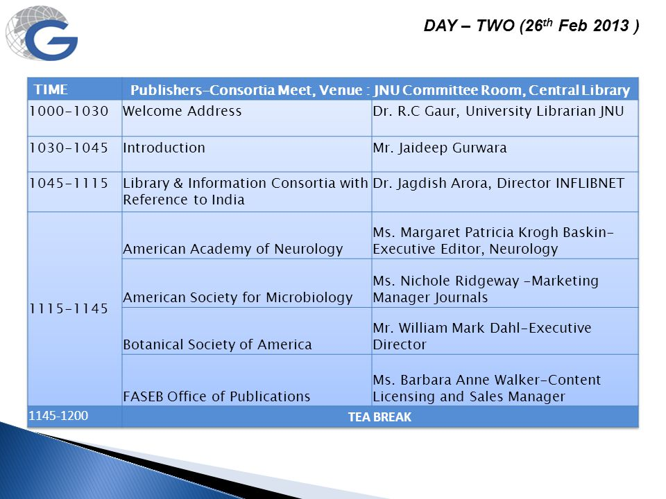 Publishers-Consortia Meet, Venue : JNU Committee Room, Central Library