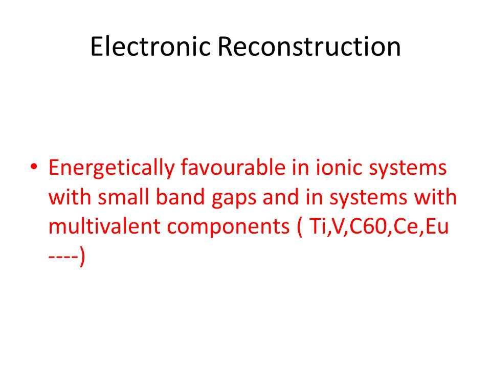 Electronic Reconstruction