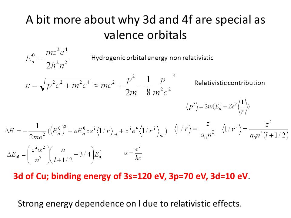 A bit more about why 3d and 4f are special as valence orbitals