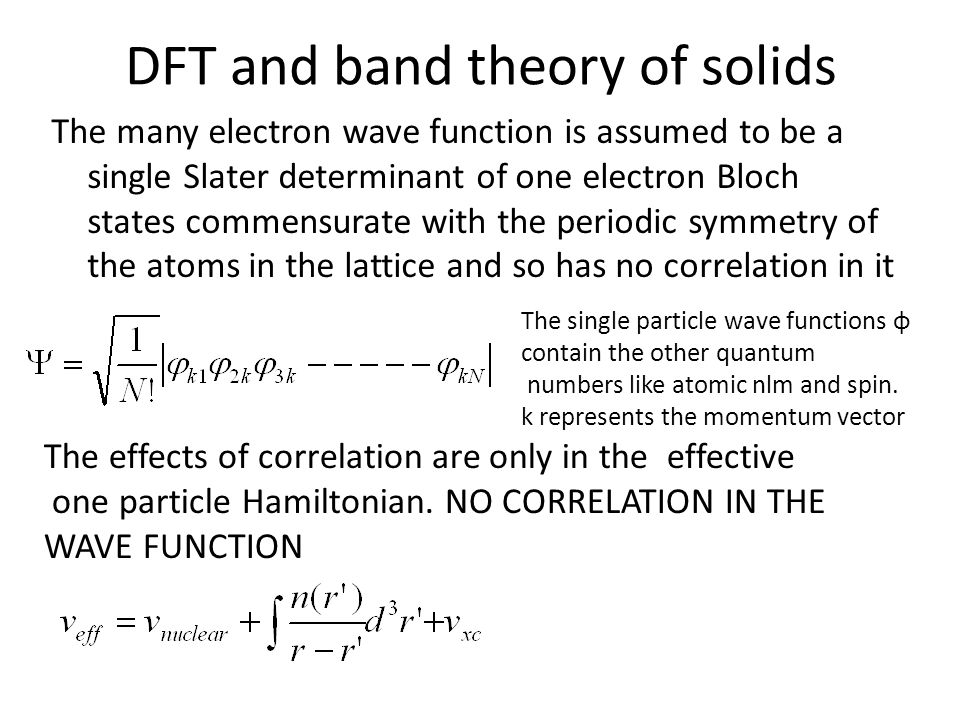 DFT and band theory of solids