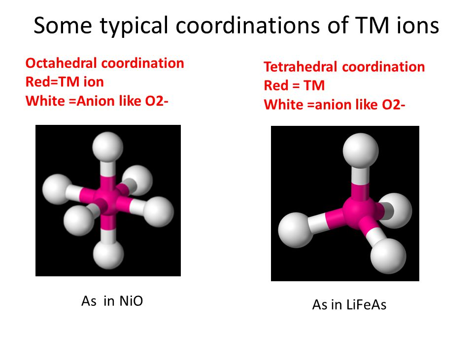 Some typical coordinations of TM ions