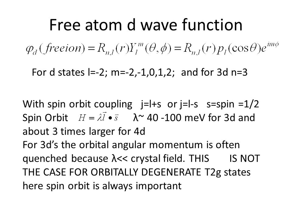 Free atom d wave function