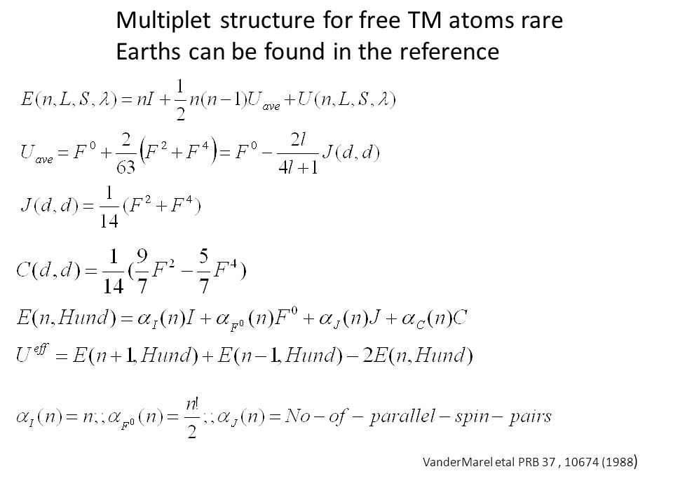 Multiplet structure for free TM atoms rare