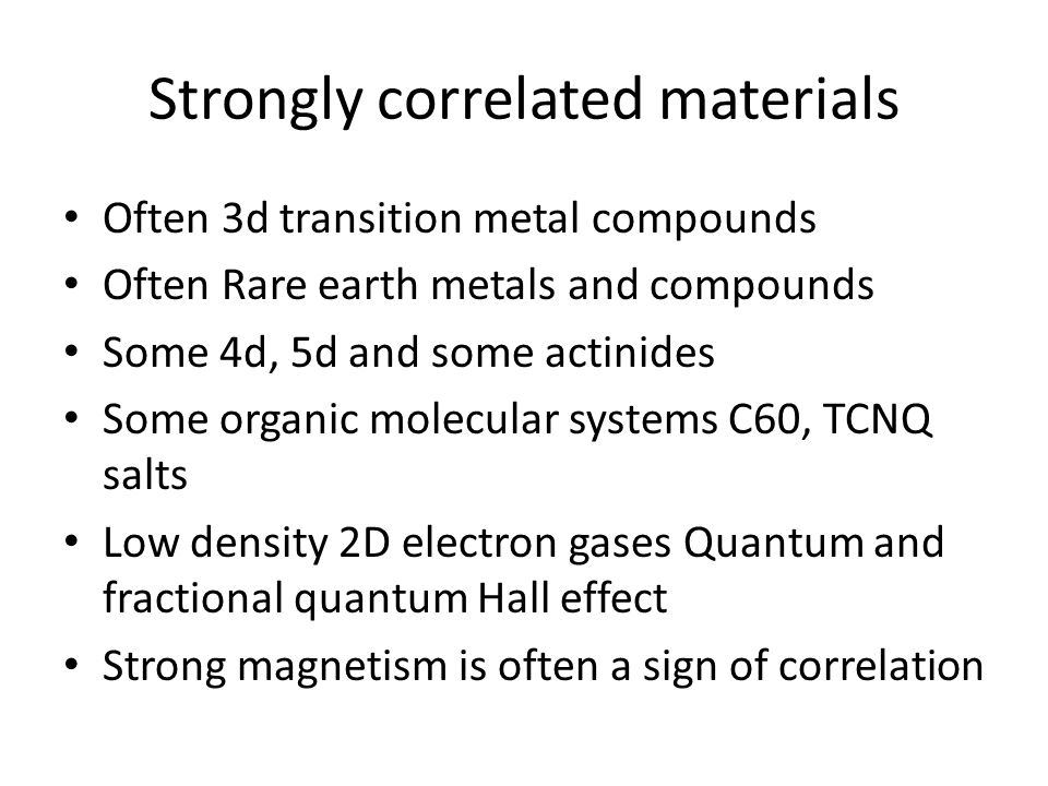 Strongly correlated materials