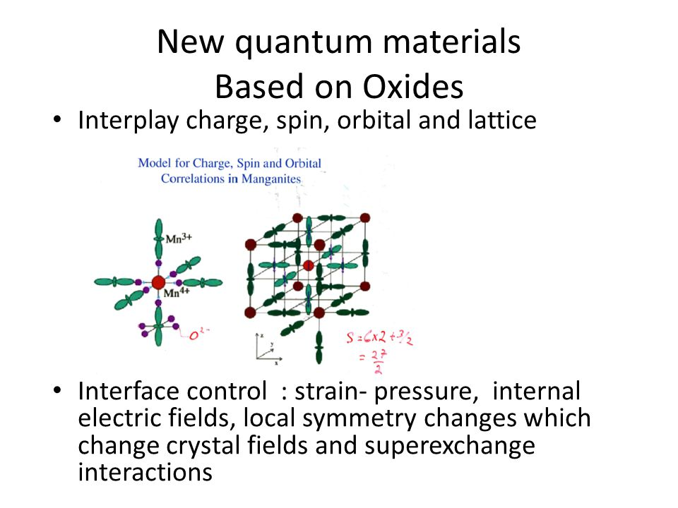 New quantum materials Based on Oxides