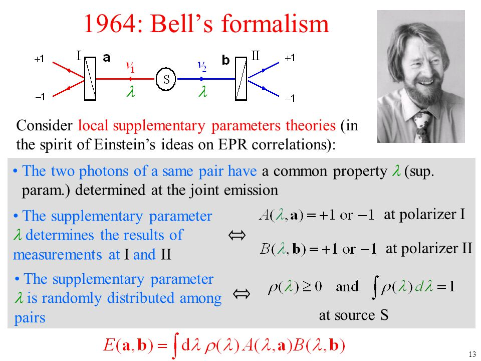 1964: Bell's formalism 4/12/2017. l. l. Consider local supplementary parameters theories (in the spirit of Einstein's ideas on EPR correlations):