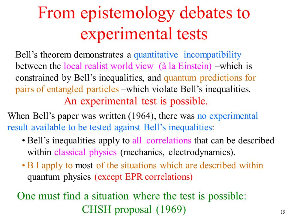 From epistemology debates to experimental tests