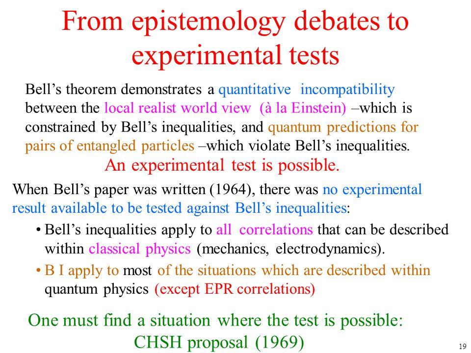 From epistemology debates to experimental tests