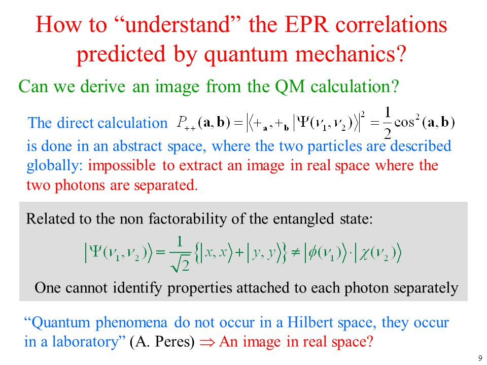 4/12/2017 How to understand the EPR correlations predicted by quantum mechanics Can we derive an image from the QM calculation