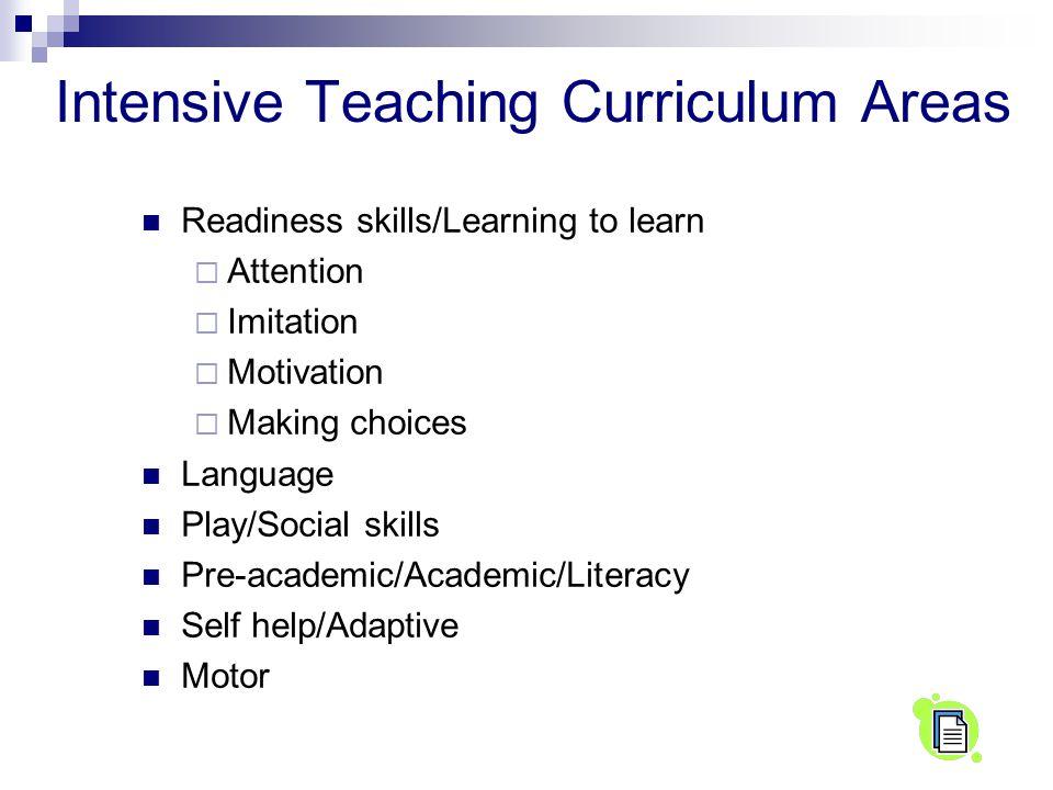 Intensive Teaching Curriculum Areas