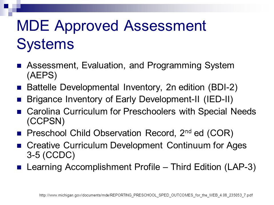 MDE Approved Assessment Systems