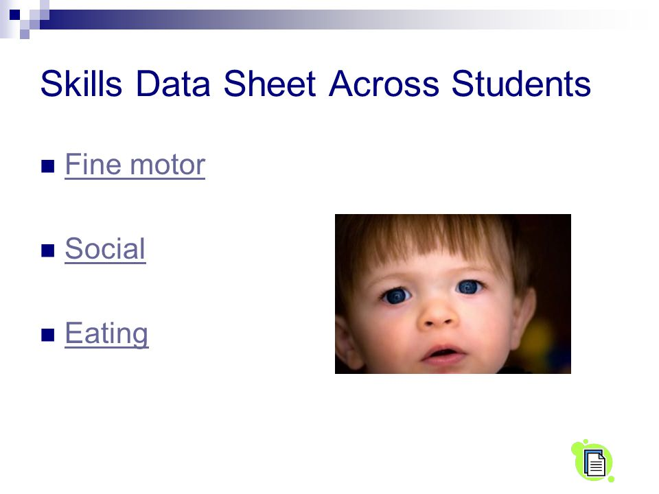 Skills Data Sheet Across Students