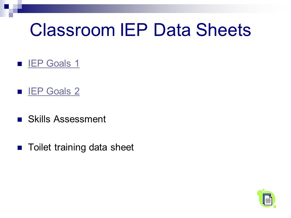 Classroom IEP Data Sheets