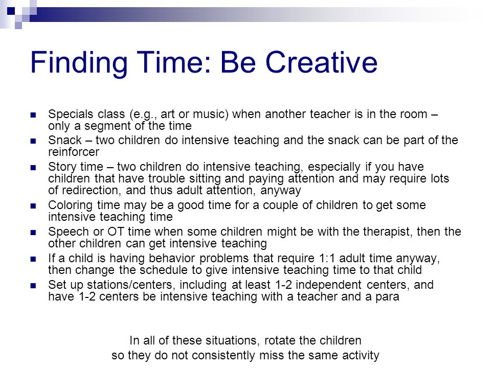 Finding Time: Be Creative