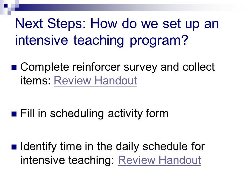 Next Steps: How do we set up an intensive teaching program