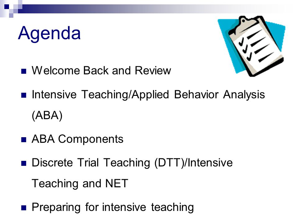 Agenda Welcome Back and Review