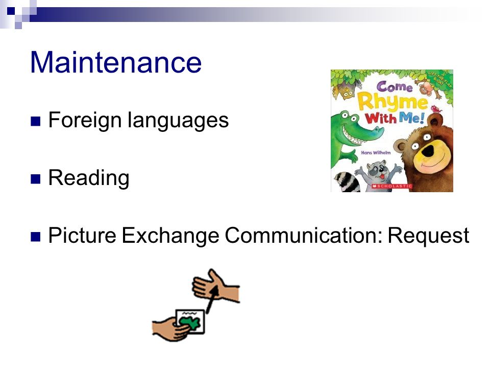Maintenance Foreign languages Reading