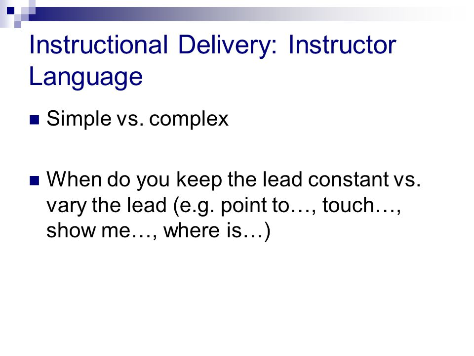 Instructional Delivery: Instructor Language