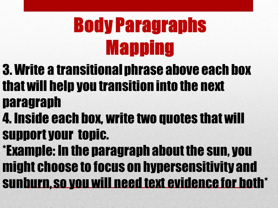 Body Paragraphs Mapping