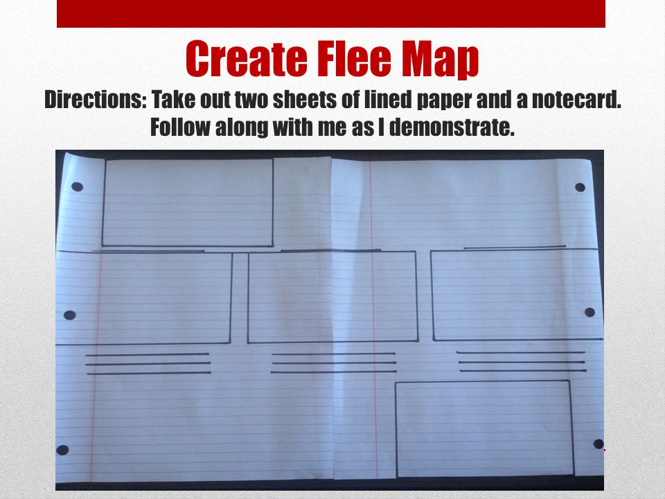 Create Flee Map Directions: Take out two sheets of lined paper and a notecard.