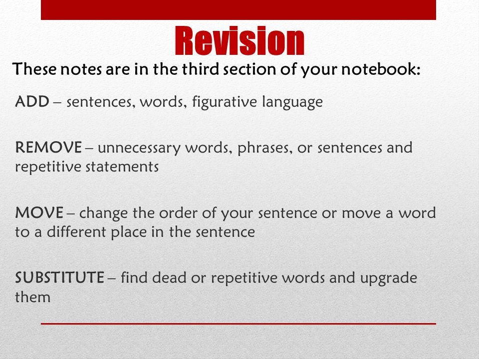 Revision These notes are in the third section of your notebook: