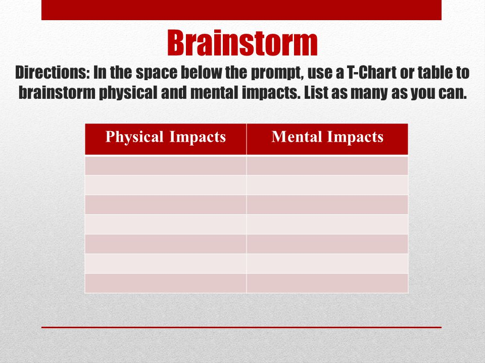 Brainstorm Directions: In the space below the prompt, use a T-Chart or table to brainstorm physical and mental impacts. List as many as you can.