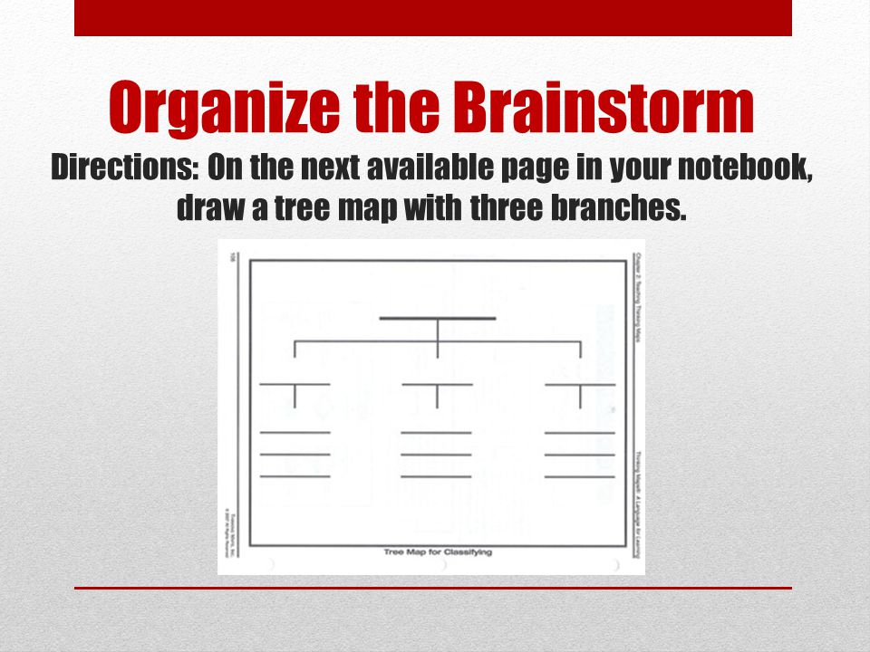 Organize the Brainstorm Directions: On the next available page in your notebook, draw a tree map with three branches.