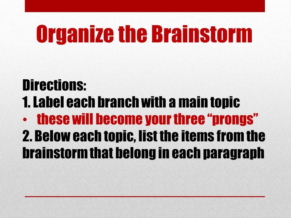 Organize the Brainstorm