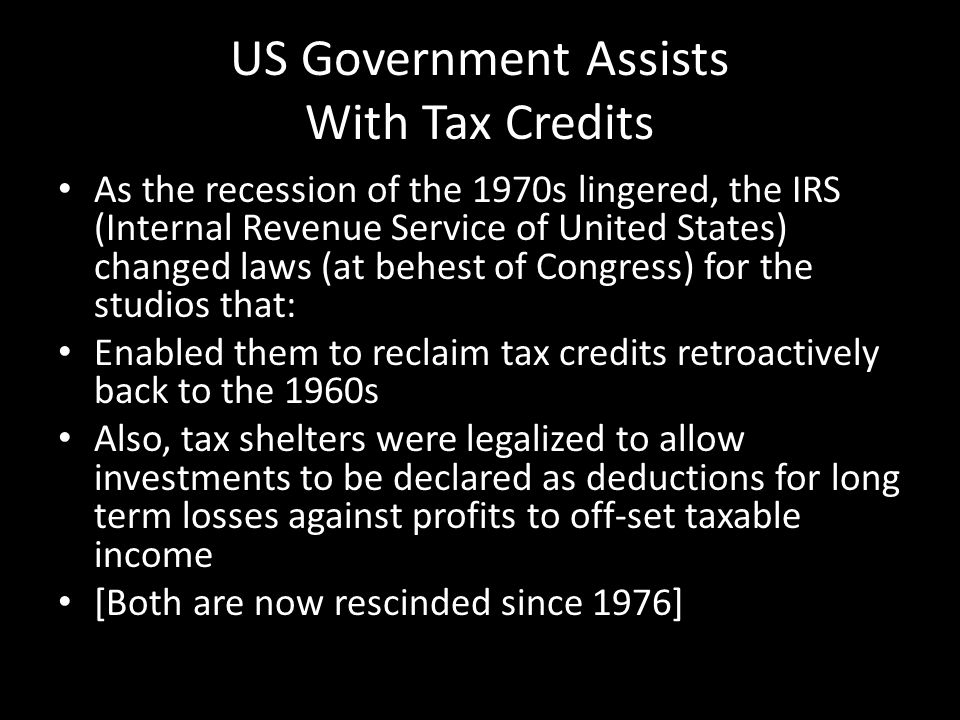 US Government Assists With Tax Credits