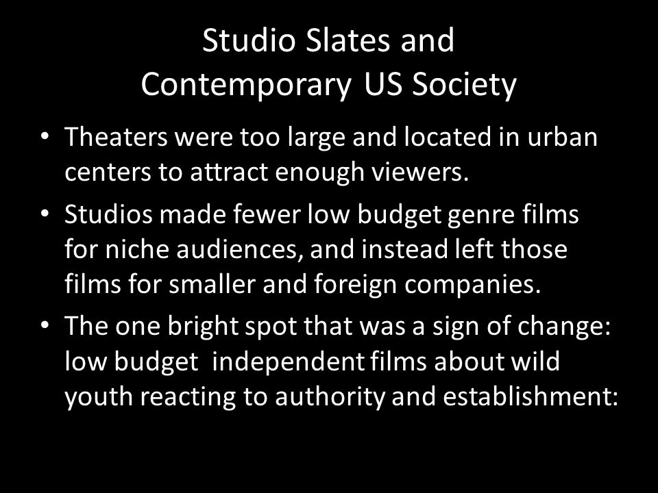 Studio Slates and Contemporary US Society