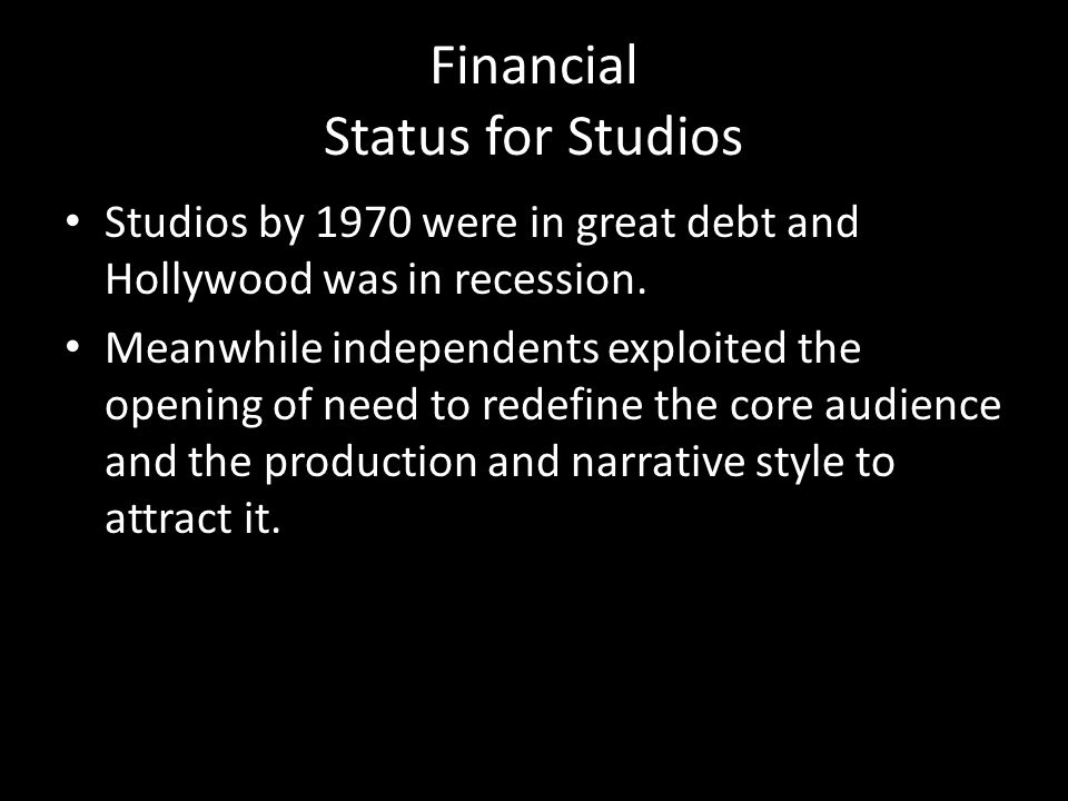 Financial Status for Studios