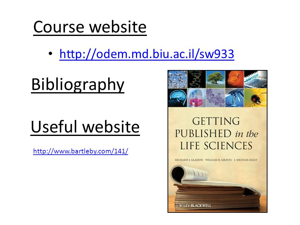 Course website Bibliography Useful website