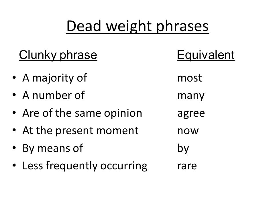 Dead weight phrases Clunky phrase Equivalent A majority of most