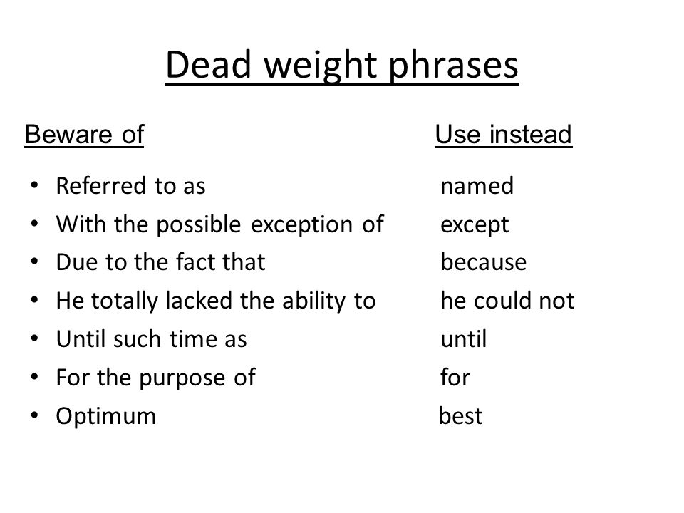 Dead weight phrases Beware of Use instead Referred to as named