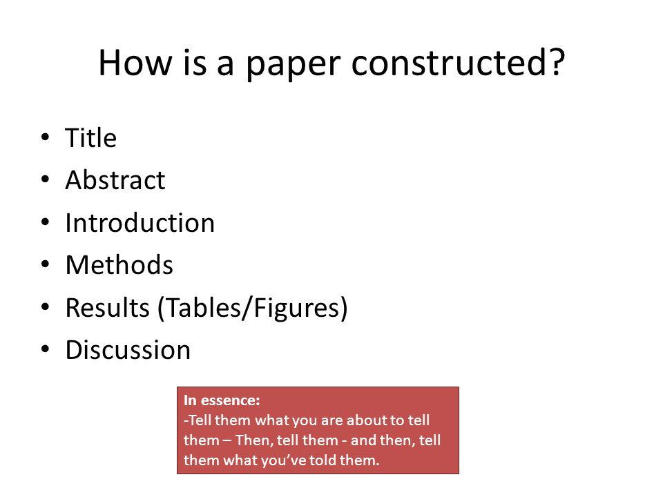 How is a paper constructed