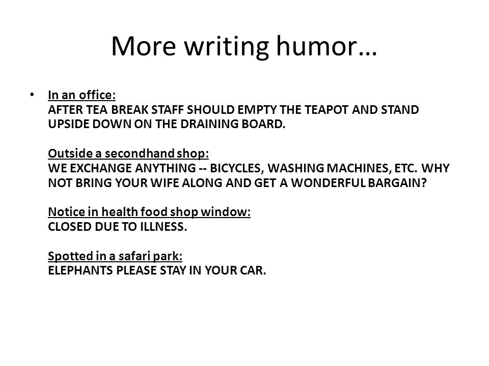More writing humor…