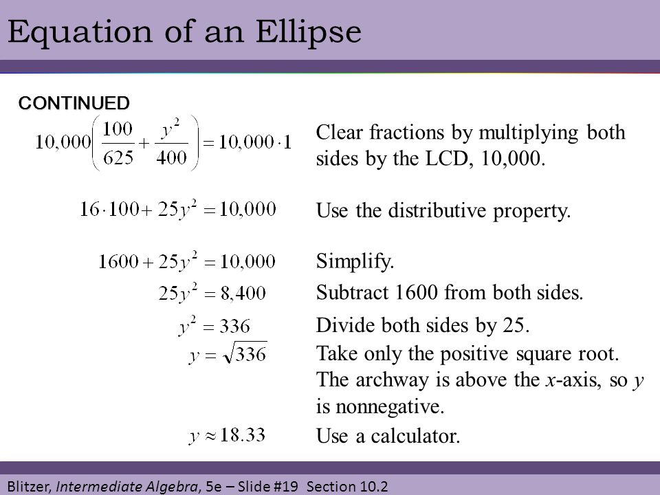 Equation of an Ellipse CONTINUED. Clear fractions by multiplying both sides by the LCD, 10,000. Use the distributive property.