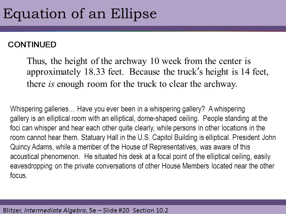 Equation of an Ellipse CONTINUED.