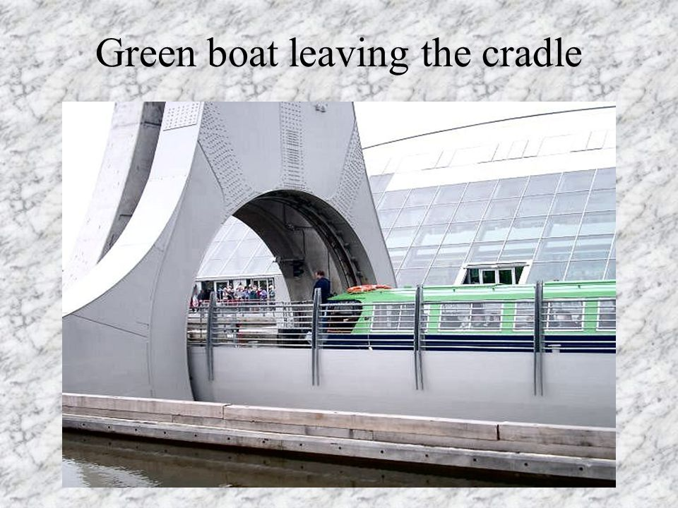 Green boat leaving the cradle