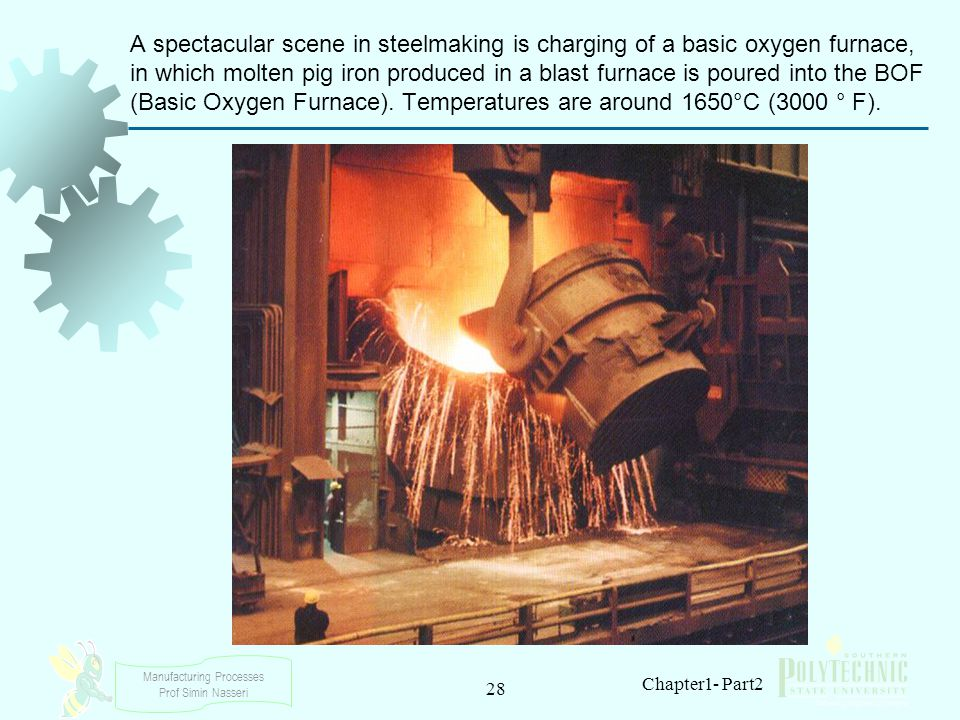 A spectacular scene in steelmaking is charging of a basic oxygen furnace, in which molten pig iron produced in a blast furnace is poured into the BOF (Basic Oxygen Furnace). Temperatures are around 1650°C (3000 ° F).