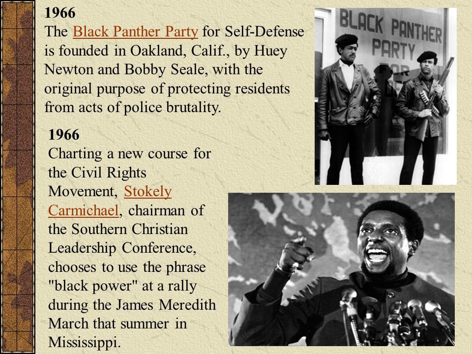 1966 The Black Panther Party for Self-Defense is founded in Oakland, Calif., by Huey Newton and Bobby Seale, with the original purpose of protecting residents from acts of police brutality.