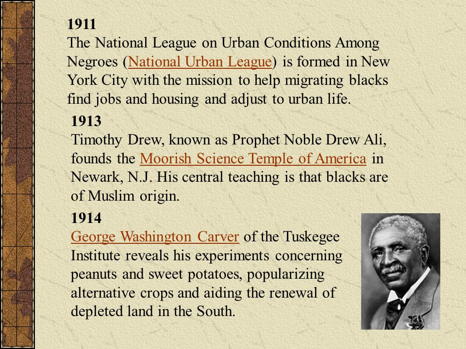 1911 The National League on Urban Conditions Among Negroes (National Urban League) is formed in New York City with the mission to help migrating blacks find jobs and housing and adjust to urban life.