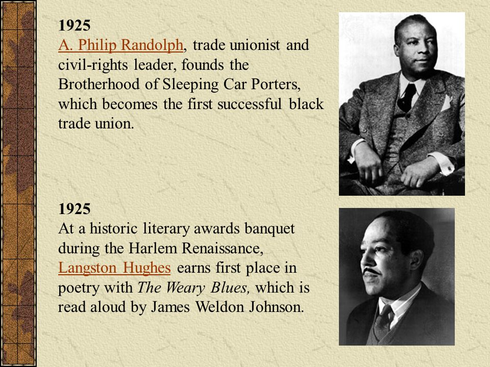 1925 A. Philip Randolph, trade unionist and civil-rights leader, founds the Brotherhood of Sleeping Car Porters, which becomes the first successful black trade union.