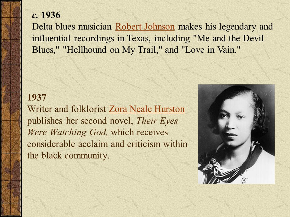 c. 1936 Delta blues musician Robert Johnson makes his legendary and influential recordings in Texas, including Me and the Devil Blues, Hellhound on My Trail, and Love in Vain.