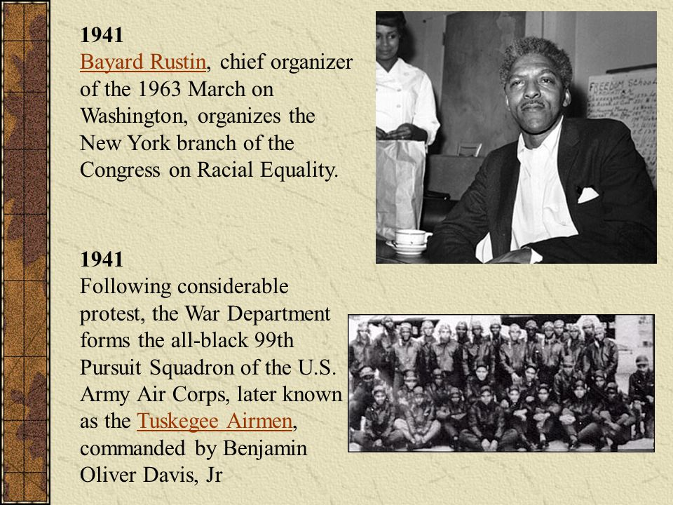1941 Bayard Rustin, chief organizer of the 1963 March on Washington, organizes the New York branch of the Congress on Racial Equality.