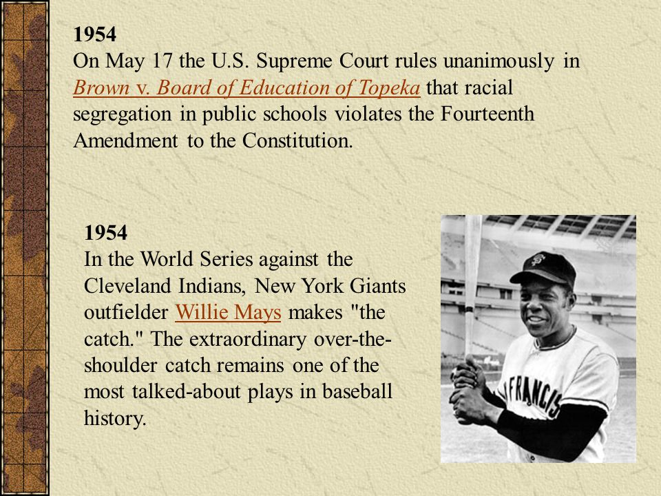 1954 On May 17 the U. S. Supreme Court rules unanimously in Brown v