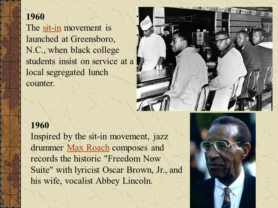 1960 The sit-in movement is launched at Greensboro, N. C
