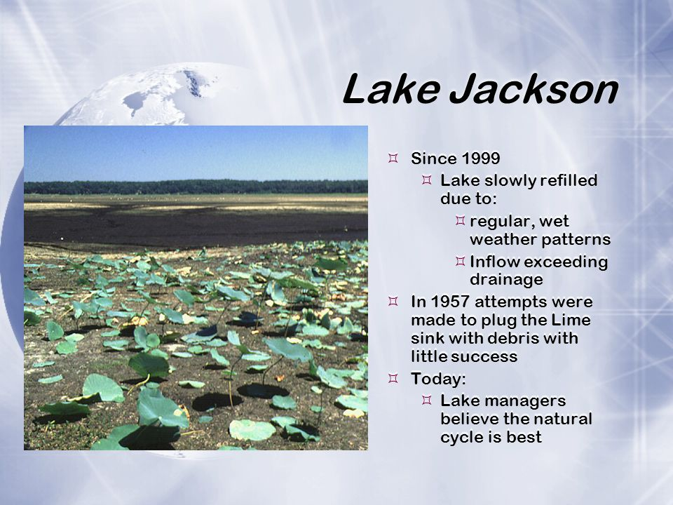 Lake Jackson Since 1999 Lake slowly refilled due to:
