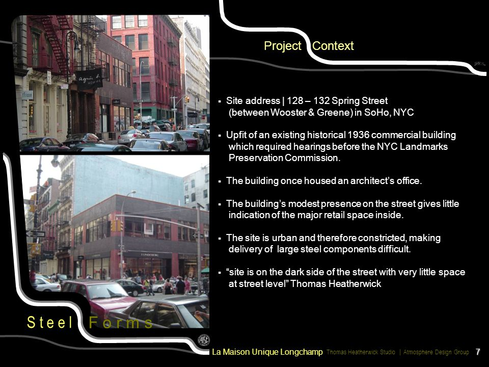 F o r m s Project Context Site address | 128 – 132 Spring Street