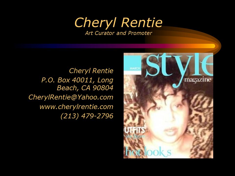 Cheryl Rentie Art Curator and Promoter